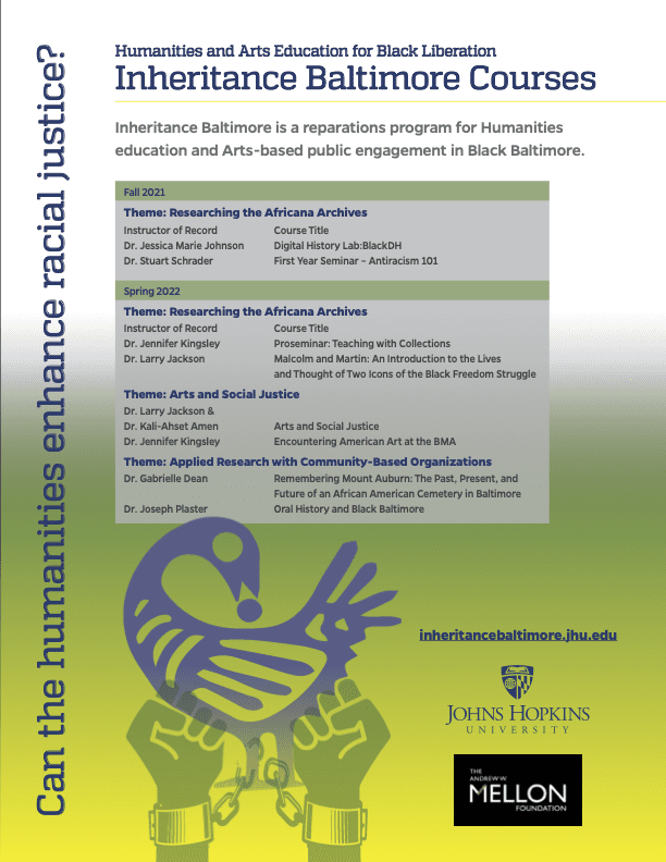 """This is an image of a poster listing the Inheritance Baltimore courses shown above. Inheritance Baltimore is a reparations program for Humanities education and Arts-based public engagement in Black Baltimore. This initiative asks """"Can the humanities enhance social justice?"""""""